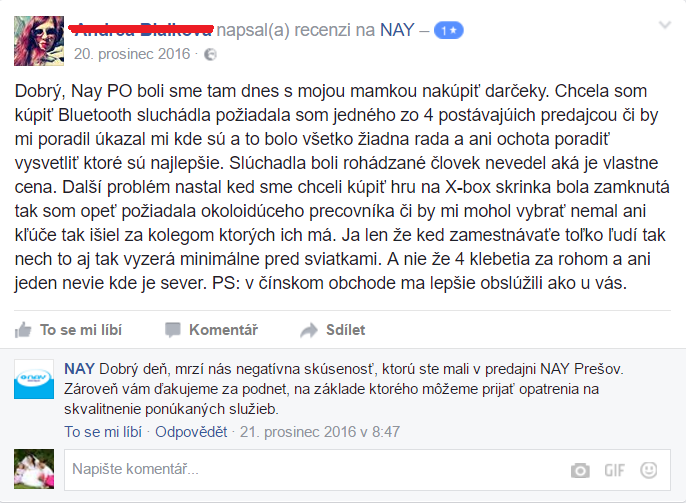 NAY elektro kritika na FB.